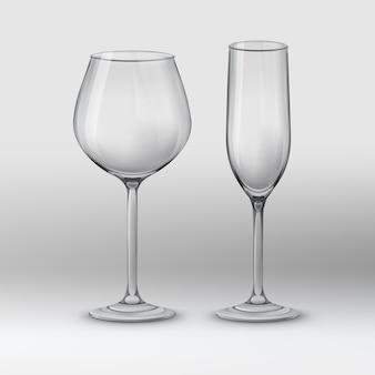 벡터 일러스트 레이 션. 두 종류의 안경 : 와인 잔과 샴페인 플루트. 회색 배경에 비어 있고 투명