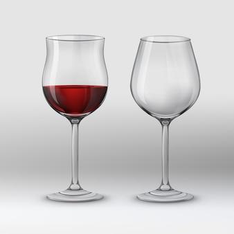 벡터 일러스트 레이 션. 적포도주를위한 두 종류의 포도주 잔. 회색 배경에 절연