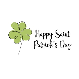 Vector illustration - typographic saint patrick day card with clover on white. modern minimalistic linear art
