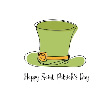 Vector illustration - typographic saint patrick day card with hat on white. modern minimalistic linear art