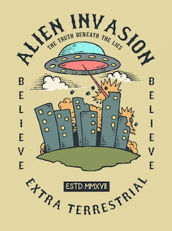 Vector illustration of ufo alien invading earth and city