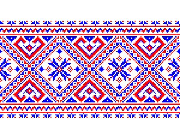 Vector illustration of ukrainian folk seamless pattern ornament. ethnic ornament. border element. traditional ukrainian, belarusian folk art knitted embroidery pattern - vyshyvanka