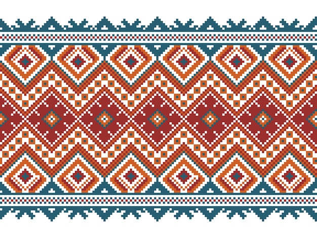 Vector illustration of ukrainian folk seamless pattern ornament. ethnic ornament. border element. traditional ukrainian, belarusian folk art knitted embroidery pattern - vyshyvanka