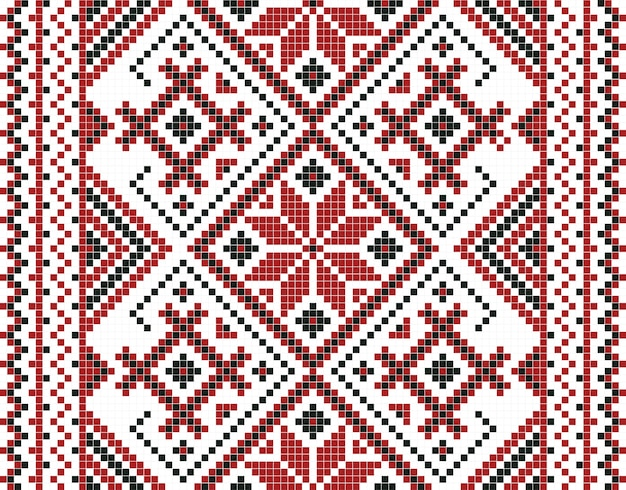 Vector illustration of ukrainian mosaic seamless pattern