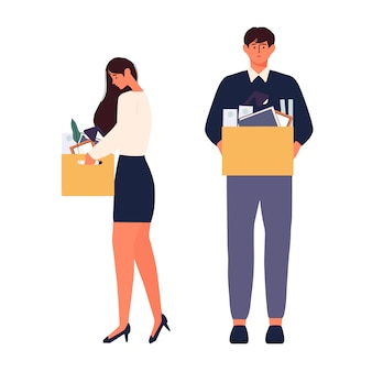 Vector illustration of unemployment man and woman looking for a job human character illustration