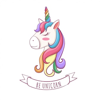 Vector illustration of unicorn cute head with hair rainbow.