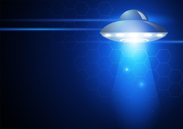 Vector illustration of unidentified flying object on futuristic background