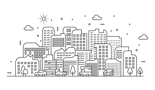 Vector illustration of urban landscape lines