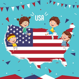 Vector illustration of usa flag and kids