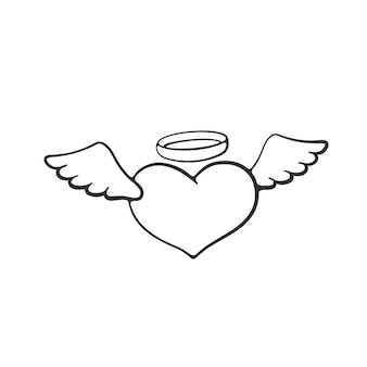 Vector illustration valentines day symbol angel heart with wings and a halo hand drawn doodle