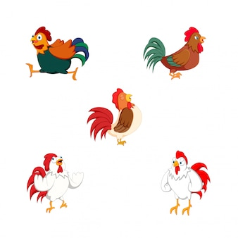 Vector illustration of various roosters