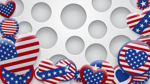 Vector illustration of various usa symbols in red and blue colors on white background with holes. independence day united states of america