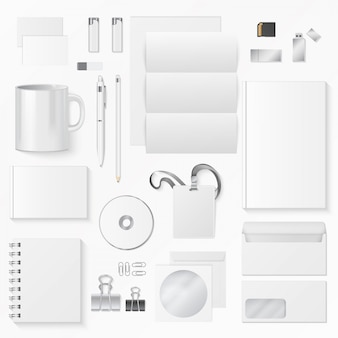 Vector illustration of various white office supplies. corporate identity elements.