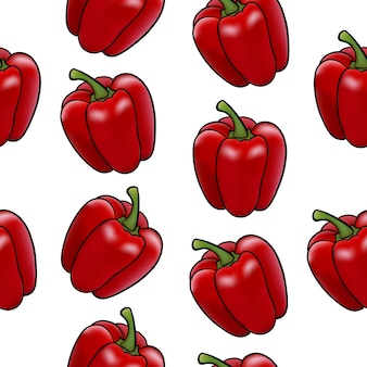 Vector illustration of a vegetable bell pepper in the style of realism red color seamless pattern on
