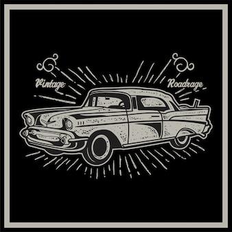 Vector illustration of vintage car. retro car