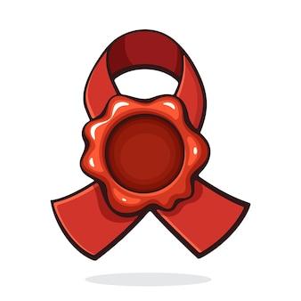 ベクトルイラストヴィンテージ赤いワックスシールリボン付きレトロメール用セキュリティスタンプ