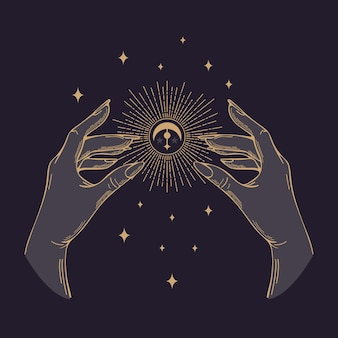 Vector illustration in vintage style. womens golden hands hold the sun, the moon. halloween, magic, witchcraft, astrology, mystic. for posters, postcards, banners, printing on fabric, tattoo design