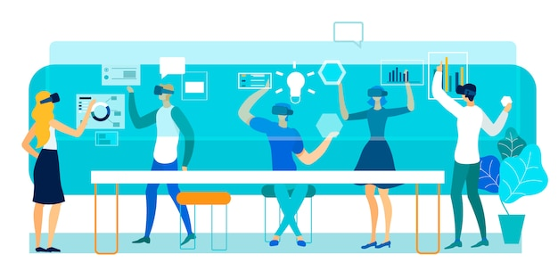 Vector illustration virtual reality in office.