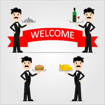 Vector illustration of a waiter in a black suit