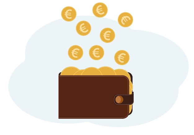 Vector illustration of a wallet full of coins with the image of euro