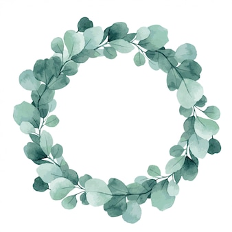 Vector illustration, watercolor christmas wreath with eucalyptus