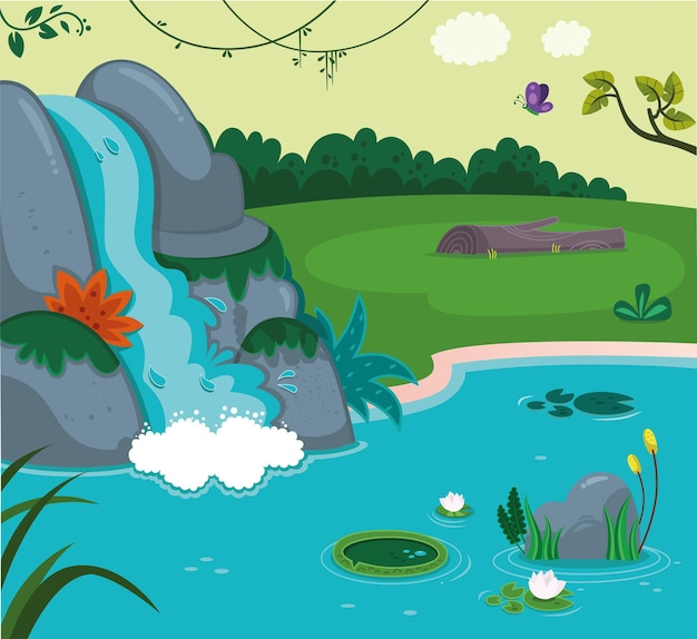 Vector illustration of waterfall in a landscape