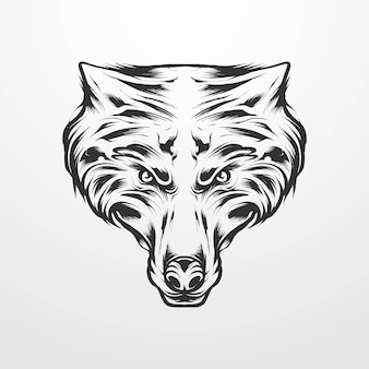 Vector illustration of werewolf head isolated, vintage, monochrome style. suitable for t-shirts, prints, logos and other apparel products