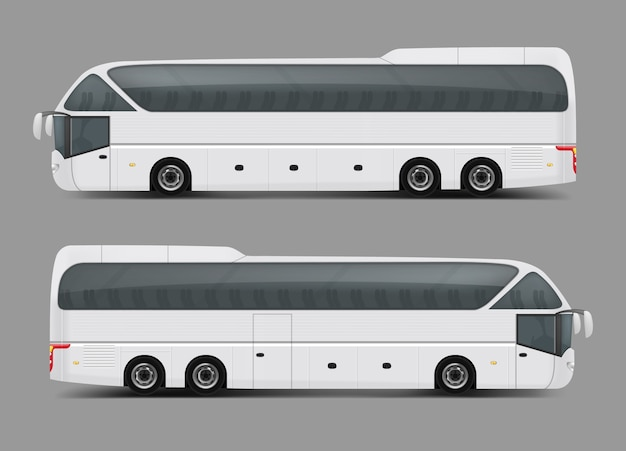 Vector illustration of a white bus in a realistic style
