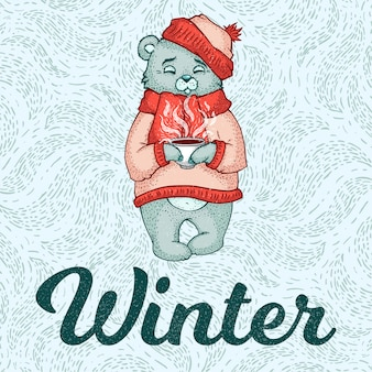 Vector illustration of white polar bear in red scarf