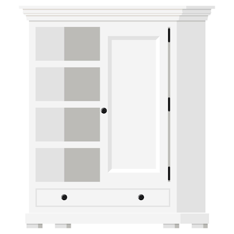 Vector illustration of white wooden provence style empty home cupboard with shelves and door icon isolated on white background