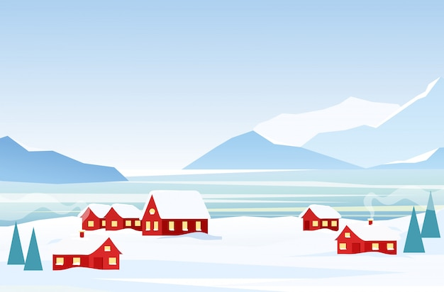 Vector illustration of winter landscape with red houses on the frozen seaside, snow mountains on the background. arctic landscape in flat cartoon style.