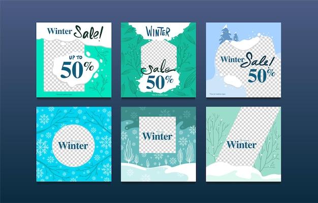 Vector illustration winter sale social media post template