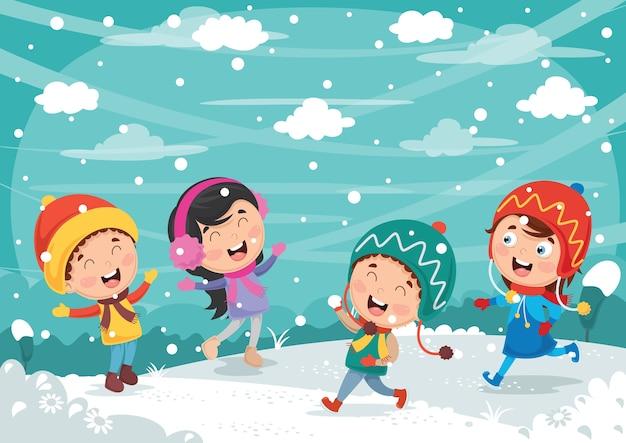 Vector illustration of winter scene