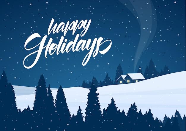 Векторная иллюстрация: зимний снежный рождественский пейзаж с мультяшными домиками и рукописными буквами счастливых праздников