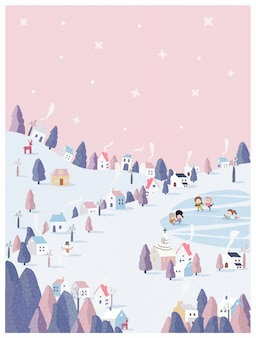 Vector illustration of winter wonderland in pink pastel background.