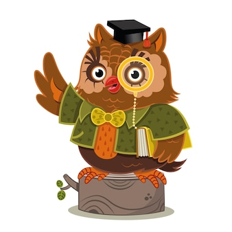 Vector illustration of a wise owl