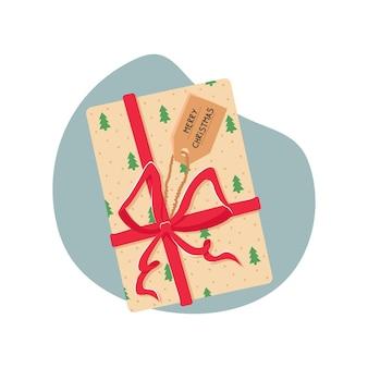 Векторная иллюстрация с рождественским подарком. настоящая коробка с красным бантом.