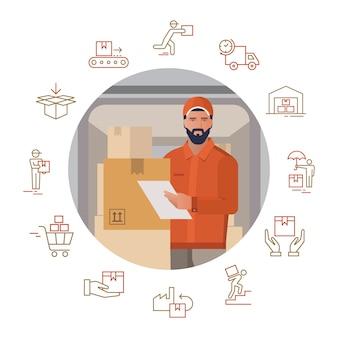 Векторная иллюстрация с набором иконок на тему доставки с изображением доставщика