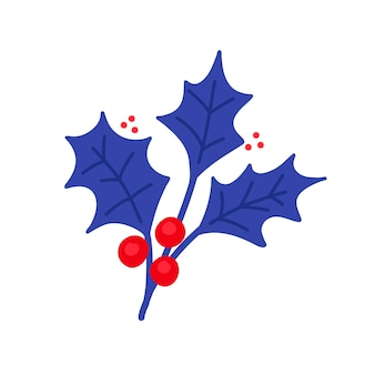 Векторная иллюстрация с веточкой падуба и красных ягод в плоском стиле на белом фоне