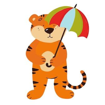빗 속에서 우산을 들고 호랑이와 벡터 일러스트 레이 션. 새끼 호랑이가 비를 피하고 있습니다.