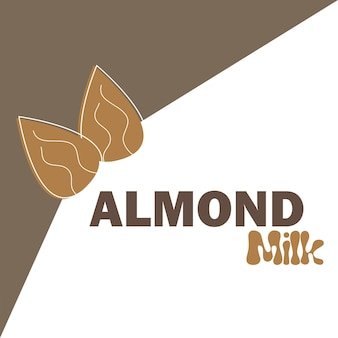 Vector illustration with almond milk. lactose free vector concept - logo, label for design