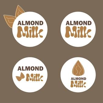 アーモンドミルクとベクトルイラスト。乳糖フリーベクトルの概念-ロゴ、デザインのラベル
