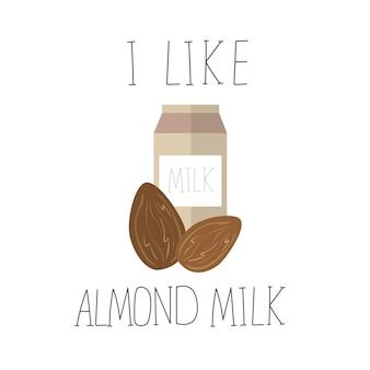 アーモンドミルクとベクトルイラスト。乳糖フリーベクターコンセプト-テキスタイルグラフィックtシャツプリント