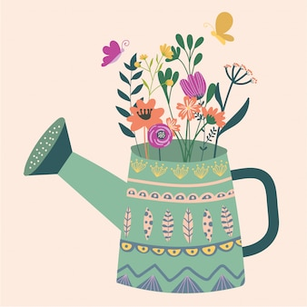 Vector illustration with a beautiful bouquet in the watering can and butterfly. vintage ga