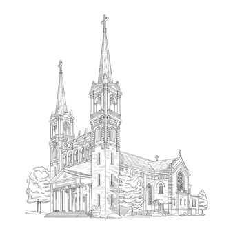 Vector illustration with beautiful christiani church historic building architecture black and white