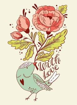 아름다운 꽃과 비문 - 사랑으로 부리에 새를 들고 있는 벡터 삽화. 세로 이미지
