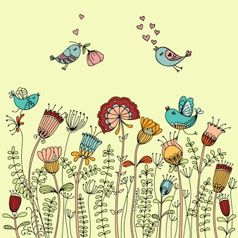 Vector illustration with birds flying around the flowers and place for text.
