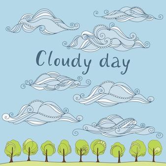 푸른 하늘과 아름다운 구름이 있는 벡터 삽화. 흐린 날