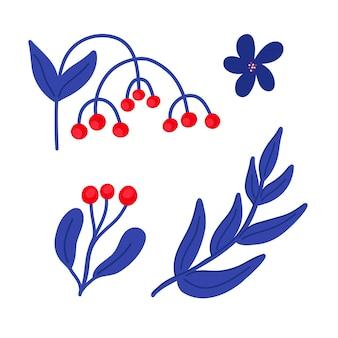 Векторная иллюстрация с синими ветками листьев и красных ягод в плоском стиле на белом фоне