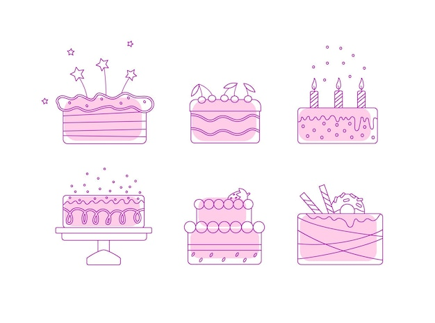 Vector illustration with cake icons isolated on white background.